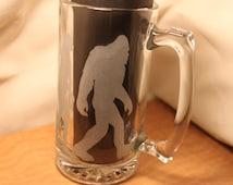 Bigfoot Sasquatch Evolution Etched Beer Mug 28oz