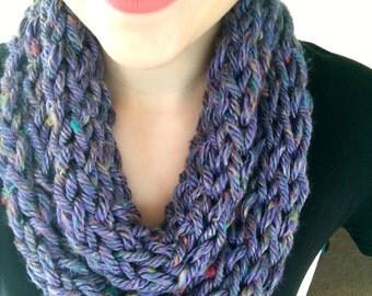 Light scarf, Purple scarf, infinity scarf, knit scarf, finger knit scarf, womens scarf, winter scarf, knit infinity scarf, crochet scarf
