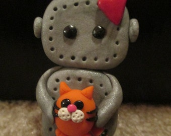 Polymer clay Robot cat lovers refrigerator magnet