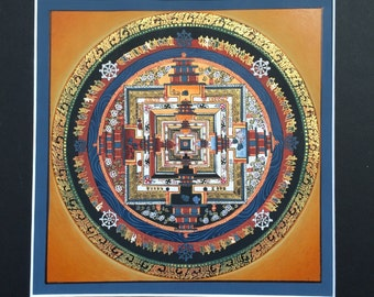 Handpainted Tibetan Mandala Thangka Painting / Orange Blue Black / Art Home Gift