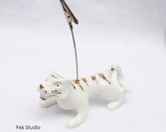 Tiger ceramic, white golden tiger, home decor, namecard holder, picture holder, tiger statue