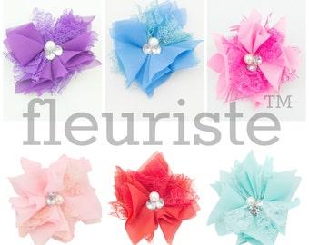 """Chiffon Lace Flower, Rhinestone Flower, Wholesale Flower, Fabric Flower, Headband Flower, Flower Embellishment,  Diy Flower 3"""""""