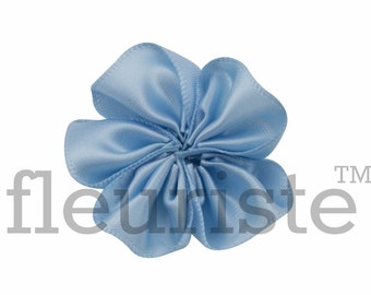 BABY BLUE Ribbon Flower, Satin flower, Fabric rose, Rolled Rosette, Wholesale Flower, Fabric Flower, Wedding Flower, Flower Embellishment, 3
