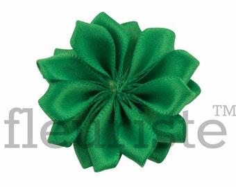 EMERALD Ribbon Flower, Satin flower, Fabric rose, Rolled Rosette, Wholesale Flower, Fabric Flower, Satin Flower, Satin Flowers, 3pc