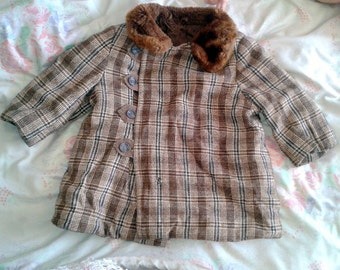 vintage ,vintage coat, coat, brown, gray, checkered, fur coat, fur coat vintage,and jacket leather 1980,