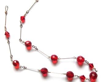 Vintage 1930s Necklace | Art Deco Necklace | Vintage Necklace | Red Necklace | Beaded Necklace | Rolled Gold Necklace | Art Deco Beads