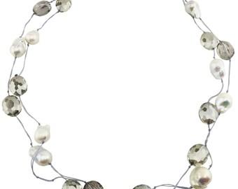 Pearls On Grey Silk