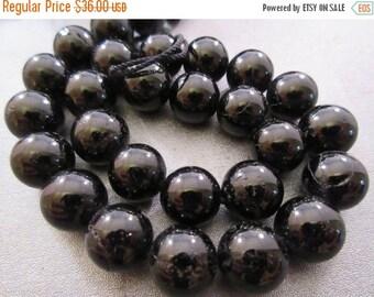 ON SALE Black Tourmaline Round 12mm Beads 34pcs