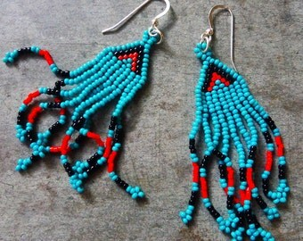 Beaded Turquoise and Red Earrings