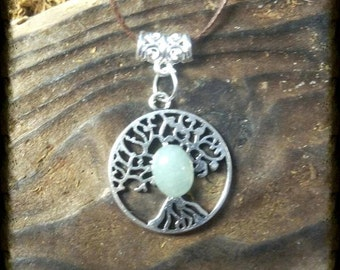 Tree of life and green aventurine necklace