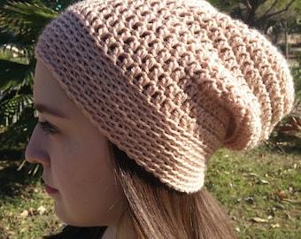 Crochet Beanie Hat in Beige