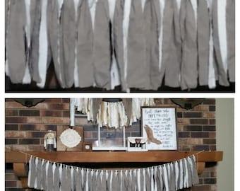 gray/white cotton garland/banner