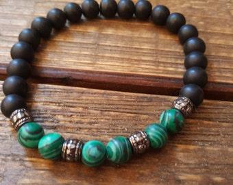 Black glass beads and Malachite bracelet. Mens bracelet. Stretch bracelet. Healing bracelet. Mala. Yoga
