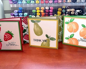 Summer Fruit Note/Thank You greeting cards - set of twelve handmade cards