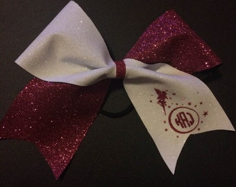 Pink and white glitter tik tok cheer bow