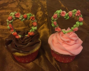 Valentines Hearts 'n Flowers Edible Cupcake Toppers
