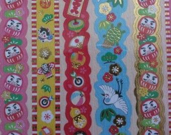 Kawaii Japanese Washi Paper Stickers, Daruma Traditional Japanese stickers,Decoration Seal item no.-1,japanese stickers