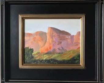 Original 8 x 10 Oil Painting Evening Lit Mountain