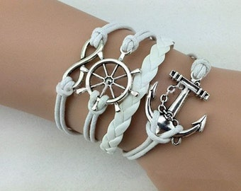White Leather Wax Cord Rudder Anchor Infinity Silver Charm Fashion Nautical Bracelet Gift For Her