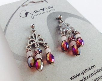 Tender Purple and Rose Chandelier Earrings/ Earrings with Quartz and Glass Beads