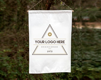 Logo banner sign / wall hanging linen-cotton canvas / custom printed