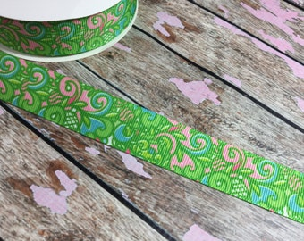 7/8 Grosgrain Ribbon in Pink Safari Print