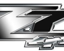 "Chevrolet Gmc z71 decals ""Night Chrome"" 13x4.5 inch set of 2."