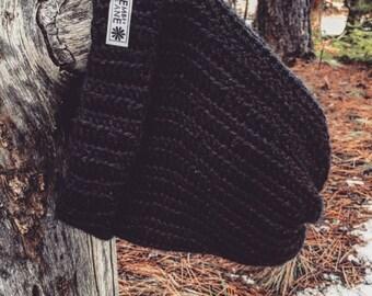 Foldover Men's ribbed crochet slouchy beanie