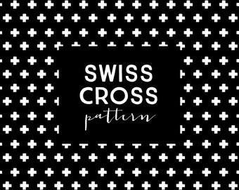 Clip Art Commercial Use - White + Black Swiss Cross Pattern / Texture / Background
