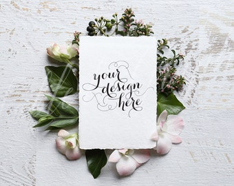 Styled stock photography - wedding stationery mock up, card mock up, simple, pink petals & white, cotton card - Hight resolution JPG