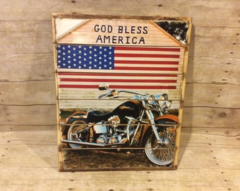 God Bless America Harley Davidson Wood Pallet Sign, 16 x 20 Harley Davidson Sign, Man Cave Decor, Birthday/Anniversary Gift, Gift for Bikers