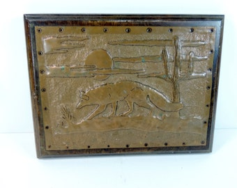 Vintage pressed copper art on wood of Coyote and cactus - Folk Art