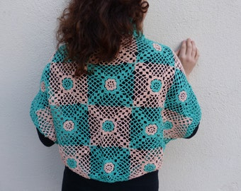Set Bicolor Crochet circle vest and shawl cardigan bolero