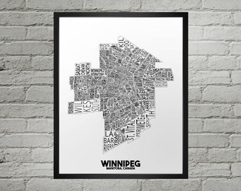 Winnipeg Manitoba Neighbourhood Typography City Map Print