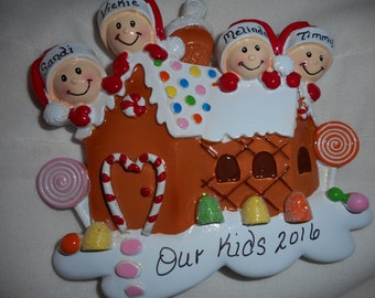 4family gingerbreadhouse ornament//personalized christmas ornament//family of 4 gingerbread house// christmas ornament//personalized