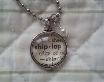 Handcrafted Petite Vintage Dictionary Word Necklace - SHIPLAP - Magnolia/Fixer Upper