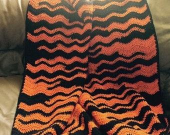 Black / Orange Crocheted Blanket