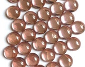 13mm Round Blush Rosaline Pink Glass Cabochon with Flat Back and Low Dome--sold as pair (2)