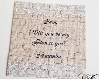 Personalized Burlap and Lace Bridesmaid proposal puzzle, Will You Be My Maid of Honor, Invitation puzzle, Be my Bridesmaid, Ask Bridesmaid