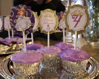 Sofia Inspired Cupcake Toppers (12), Princess Sofia Cupcake Toppers, Princess Cupcake Toppers, Sofia the First Cupcake Toppers,Sofia Bday