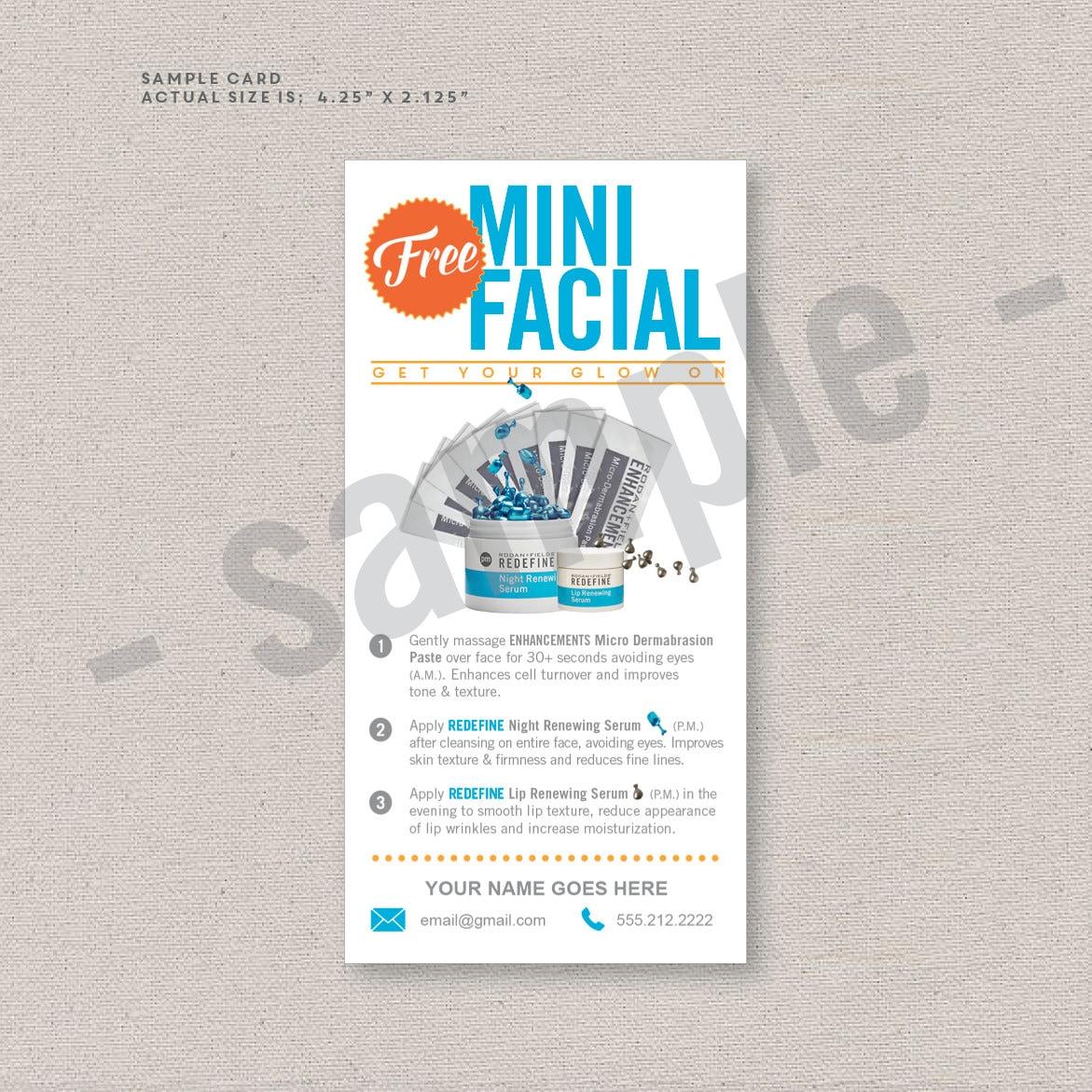 rodan and fields sample cards sample packs mini facial rodan fields inspired editable digital file instant