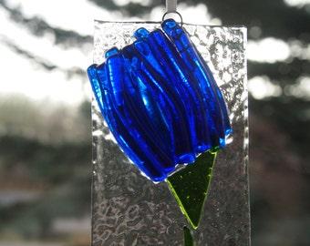 Blue Flower Fused Glass Suncatcher