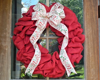 READY TO SHIP, Red burlap Christmas wreath, Noel, Festive