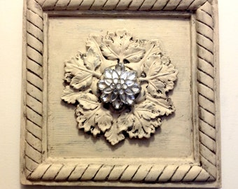 Architectural Wall Plaque Hand-Antiqued with Crystal Brooch Detail