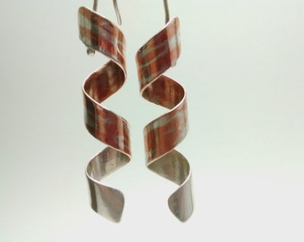 Ribbon mokume gane earrings.