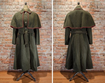 Wolfstaedter Loden Wool Coat with Removable Cape - Women's EU 46
