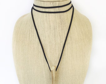 Leather double wrap tusk choker
