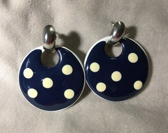 Vintage Disc polkadot earrings