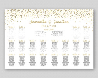 Gold Glitter Seating Chart Printable Gold Wedding Seating Chart Gold Dots, Wedding Table Plan Poster, Gold Seating Chart Sign Confetti