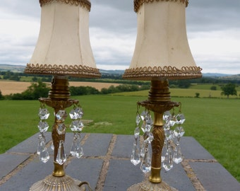 Pair of Vintage French Brass Table /Bedside Lamps & Shades with Crystals, Girandoles